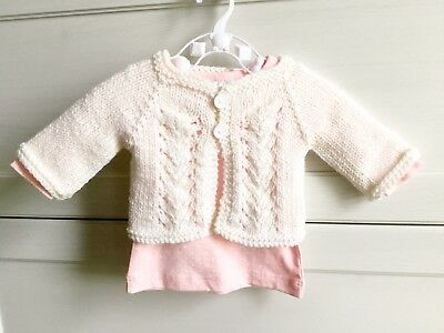Hand Knitted Newborn 0-3 months 0000 Baby Girl Christening Jumper Cardigan Wool