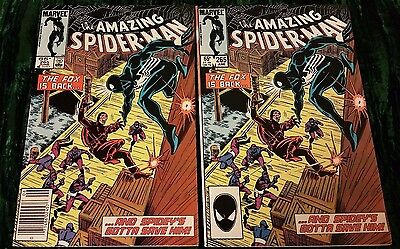 (2) AMAZING SPIDER-MAN #265 1st app of SILVER SABLE Direct & Newstand
