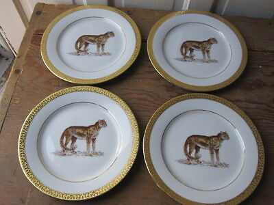 Four Royal Gallery Gold Buffet Salad Dessert Plates with a Cheetah - New Tags