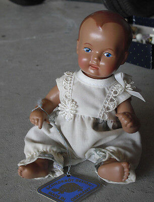 "Schildkrot Germany Celluloid Plastic Sitting Baby Girl Doll w Tag 4 1/2"" Tall"