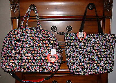 Sasha Bags Betty Boop Quilted Fabric Medium Duffle w/ Bonus Zip Top Tote NWT