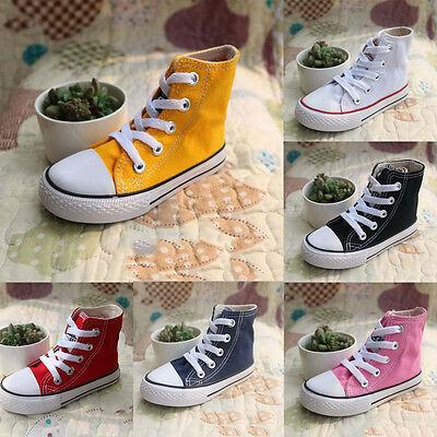Girls Boys Kids Canvas High Top Shoes Sneakers Child Running Walking Casual Shoe