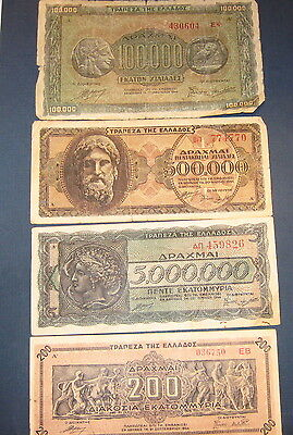 Lot Of 4 Greek Currency Bills As Pictured