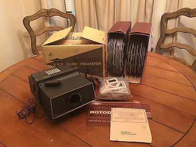 Sawyer's 2x2 Slide Projector Rotodisc 500XR Roto Disc 500 XR And Reels
