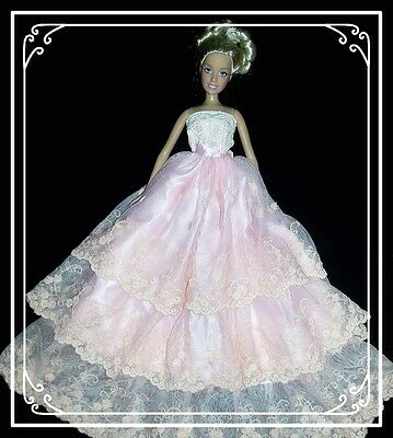 Barbie Doll Clothes - Pink/Pink Fully Lined Layered Lace Gown.
