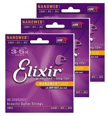 3 x Elixir Acoustic Strings Light 12-53 with 71 Guitar lessons for PC