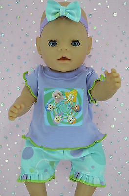"Play n Wear Doll Clothes To Fit 17"" Baby Born SPOT PANTS~TOP~HEADBAND"