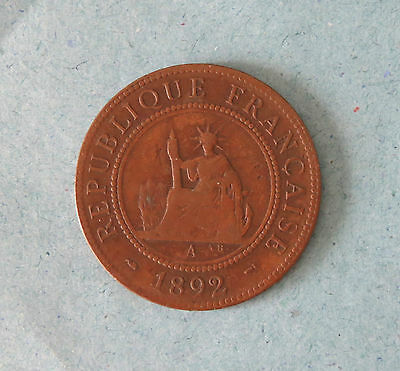 1 Cent 1892 A French Indo China Bonze Coin Vietnam Large penny Asia