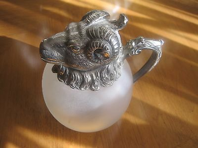 American Camphor SILVERPLATED AND GLASS RAM'S HEAD PITCHER/DECANTER[12*