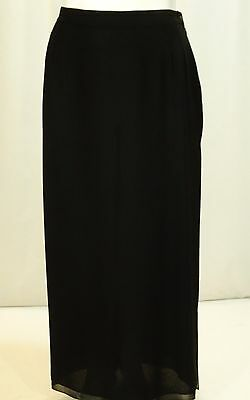 J S COLLECTION~ELeGaNT LiNES~BLACK LINED CHIFFON FULL LENGTH SKIRT SZ:16W-MINT!!