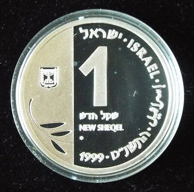 1999 Israel 1 NS New Sheqel Millenium Coin Cased .925 Silver Proof w/box & tab