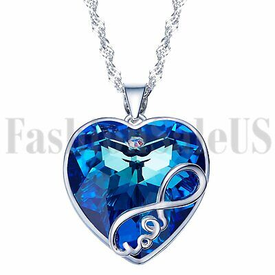 Womens Infinity Love Heart Made with Swarovski Elements Crystal Pendant Necklace