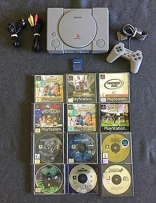 Sony PlayStation 1 Console + 12 games + Memory Card PAL PS1 Free Postage