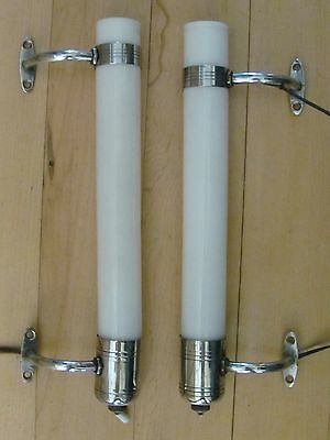 Vintage Pair Art Deco Chrome Cylinder Milk Glass Sconces