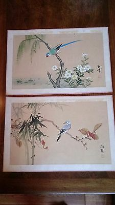 Vintage Chinese paintings on silk birds signed