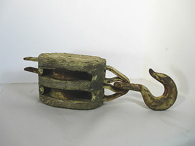 Antique Pulley Barn Nautical Wood Steel 2 Wheel Hook Cream Large Steampunk