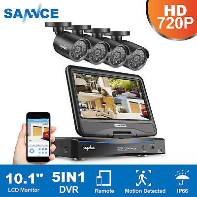 """SANNCE 10.1"""" LCD Monitor 1080N 5in1 DVR In/Outdoor IP66 Security Camera System"""