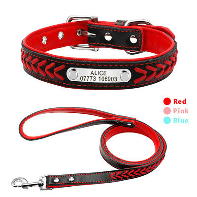 Braided Leather Personalized Custom Dog Collars and Leash Set Pink Blue Red XS-L