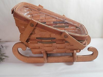 Longaberger 1990 Sleigh Basket with Protector & Wood Runners - Vegetable Basket