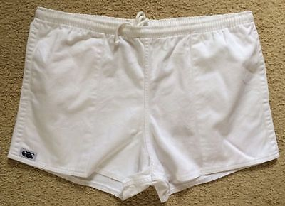 Authentic Canterbury Rugby Shorts With Pockets Mens 36 White Cotton VGC