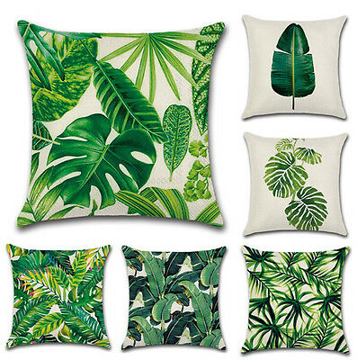 Green Leaves Tropical Linen Throw Pillow Case Sofa Cushion Covers Home Bed Decor