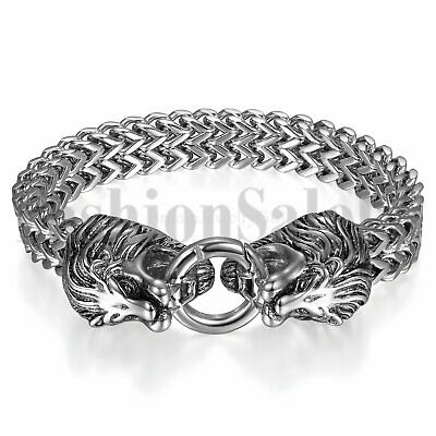 Stainless Steel Mens Silver Tone Heavy Double Lion Head Clasp Bangle Bracelet