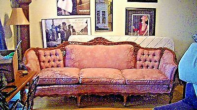 ANTIQUE VINTAGE CARVED WALNUT 8' 1900s VICTORIAN SOFA COUCH SETTEE