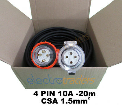 Three Phase 10A Power Extension Lead 20m Metres with 10 Amp 4 Pin Plug Socket