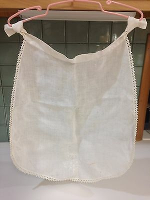 Antique Early 1900s Hand Embroidered Linen Baby Bib