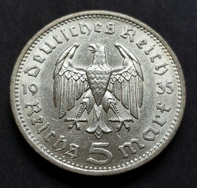 1935-F Germany Silver 5 Mark Third Reich Coin