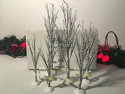 "New Department 56 Village Winter Birch Trees Lot Of 6 #52636 7.5""-11.5"""