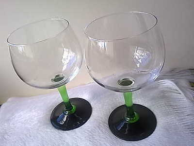Vintage Cocktail Tanqueray London Gin Balloon Glasses x2