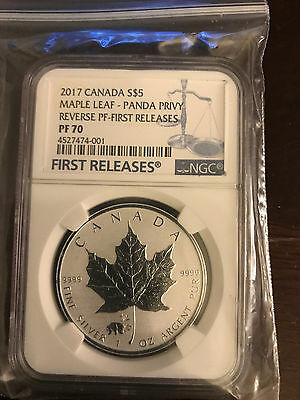 2017 Canada Maple Leaf Reverse Proof Panda Privy First Release pf70 Only 64