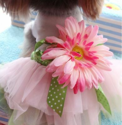 Pets Flower Skirt Pink Tutu Dress Small Dog Bow Clothes Lace XS-2XL Partywear UK