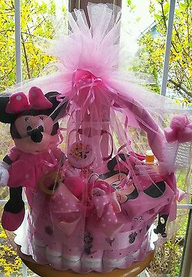 Minnie Mouse Theme Diaper Cake Gift  Basket- Made To Order