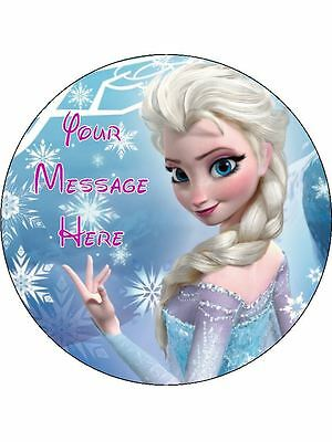 "Disney Frozen Elsa Birthday Cake Edible 7.5"" Round Printed Birthday Cake Topper"