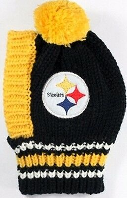 Pittsburgh Steelers  NFL Official Pet Wear Knit Ski Hat for Dogs in Size  Large