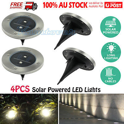 4x Solar Powered LED Buried Inground Recessed Lights Outdoor Garden Deck Path