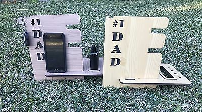 Fathers Day Gift,Timber Phone Docking Station, Desk Organiser.