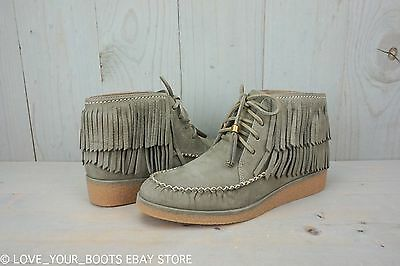 b0d8b1b971a2 UGG CALEB MOUSE Fringe Nubuck Leather Ankle Wedge Boots Booties Size ...