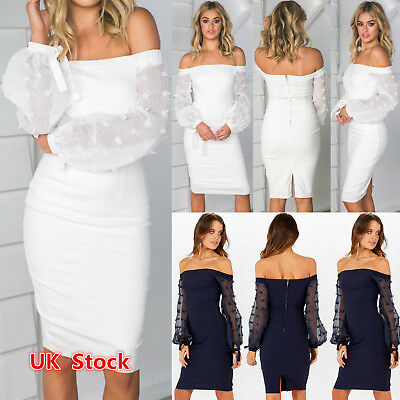 UK Women Bandage Bodycon Long Sleeve Evening Sexy Party Cocktail Mini Dress