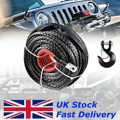 12MMx 25M 1200LBS Synthetic Winch Rope Recovery Cable With Hook Wire 4X4 UK
