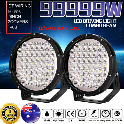 99999W 9inch CREE LED Driving Lights Combo Beam Offroad 4X4 Round Spotlights HID