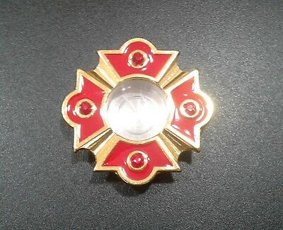 """Personal Reliquary Relic Case 2"""" Gold Plated with Red Enamel & Shining Stones"""