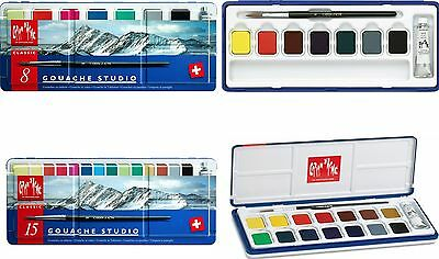 Caran D'Ache Gouache Studio - Water Colour Paint - Set of 8 or 15 Colour Tablets
