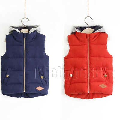 New Kids Boys Girl Cotton padded Vest body Warmer Gilet Jacket Winter thick Coat