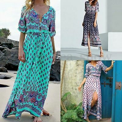 Plus Size Women Casual Summer Beach Party Boho Floral Sundress Long Maxi Dresss