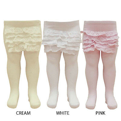 New One Pair Super Cute Baby Girl Frilly Back Cotton Rich Tights 0-24 Months