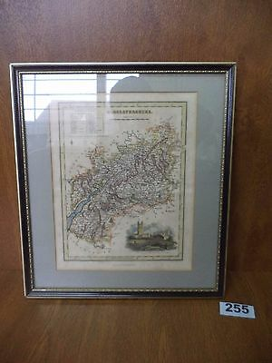 Vintage Framed Print Map of Gloucestershire / Glosestershire