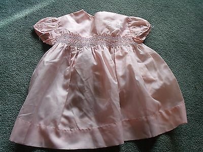 Vintage baby dress, pink nylon, smocking